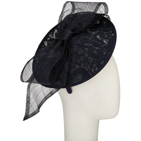 John Lewis Hope Lace Disc Bow Occasion Hat ($115) ❤ liked on Polyvore featuring accessories, hats, navy, bow hat, navy blue hat, navy hat, john lewis hats and john lewis
