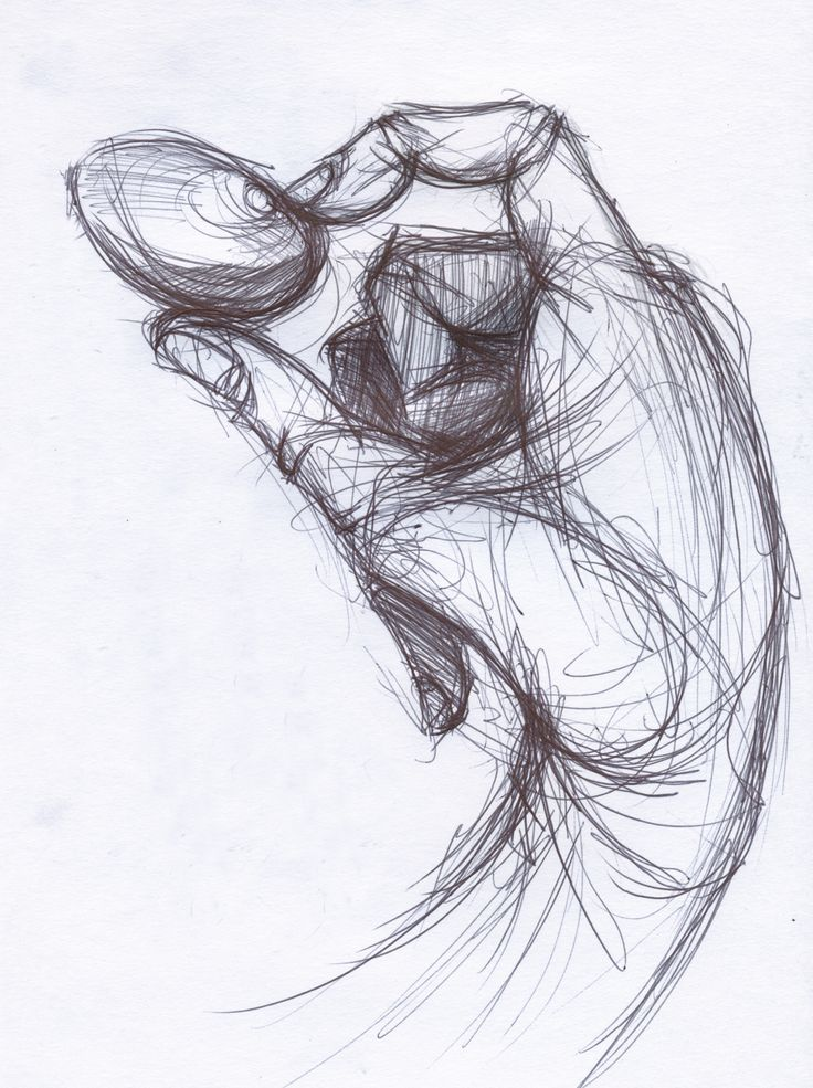 Sketches of Hands | Unreferenced pen sketch of hand holding pebble