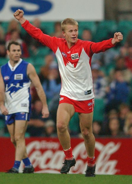 Ryan O'Keefe through the years - sydneyswans.com.au Ryan O'Keefe of the Swans celebrates kicking a goal during the round 19 AFL match between the Sydney Swans and the Kangaroos at the Sydney Cricket Ground in Sydney, Australia on August 10, 2002.