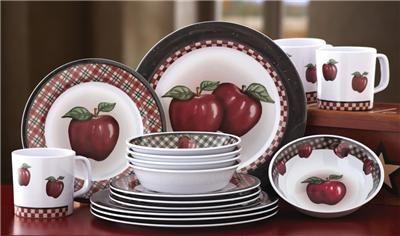 Country Apple Decor 16 Pc Melamine Dinnerware Dish Set New