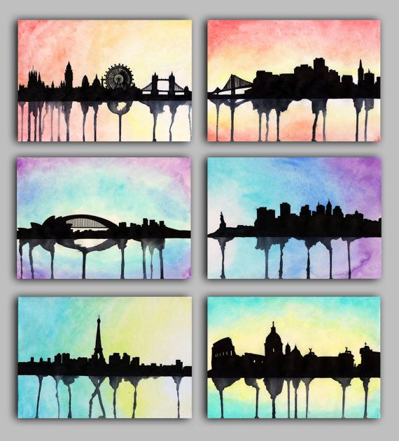 Watercolour City Series, London, New York, Paris, Rome, Sydney, San Francisco.