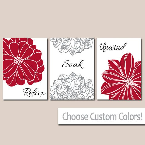 Red BATHROOM DECOR. WALL Art, Canvas Or Print Flower Bathroom Pictures  Black Gray Relax Soak Unwind Quote Words Flower Artwork Set Of 3