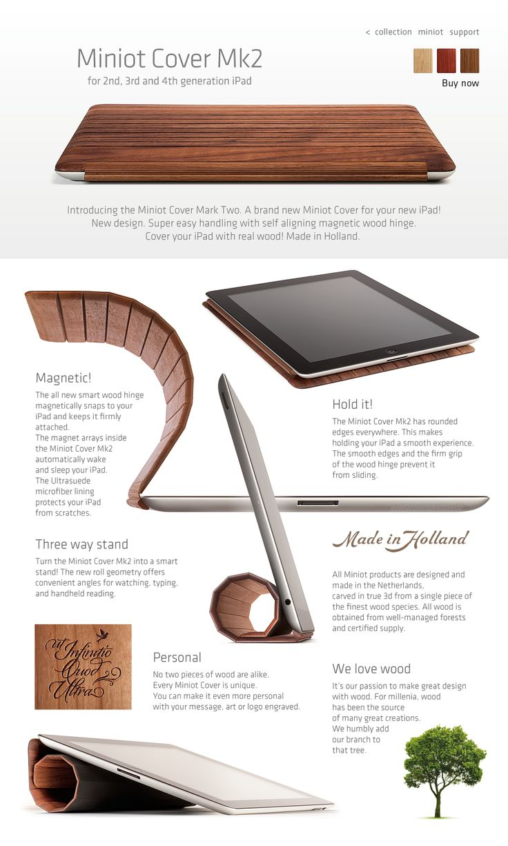 Mk2 Wood iPad Cover by Miniot. The finest wood, obtained from well-managed forests and certified supply. For the 2nd, 3rd, and 4th generation iPad.