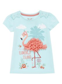 Girls Blue Flamingo Print T-Shirt (9 months-5 years)