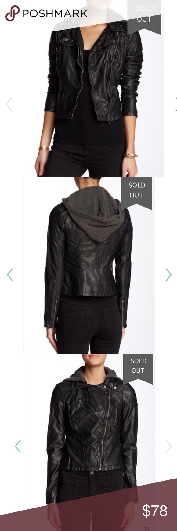 """FREE PEOPLE Hooded Vegan Leather Jacket NWT! Still for sale, full price, on Free People's website.  - Zip-off hood - Front zip closure - Long sleeves with zip cuffs - 2 chest zip pockets - Quilted panels - Lined - Faux leather construction - Approx. 21"""" length (size S) - Imported Fiber Content: Faux leather shell: 100% PU Body lining: 65% polyester, 35% cotton Sleeve lining: 100% polyester Free People Jackets & Coats"""