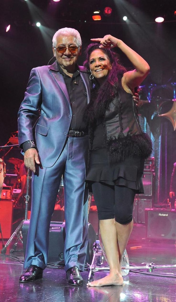 Musicians Sheila E. and Pete Escovedo (her dad) perform on stage during Dave Koz & Friends At Sea 2013 on Sept. 29, 2013 in Rome, Italy.