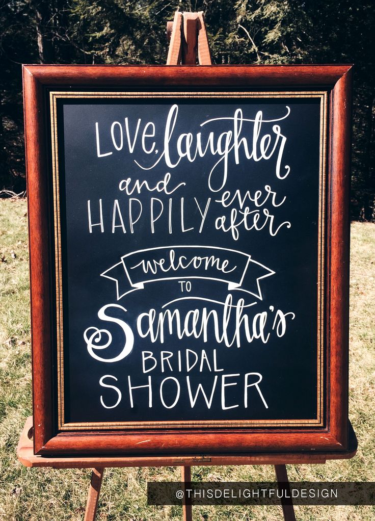 Love, Laughter & Happily Ever After | Bridal Shower | Chalkboard sign | Quote | Home Decor | Wedding Signage | Custom Hand Lettering | Modern Calligraphy || This Delightful Design by Katie Clark | katieclarkk.com