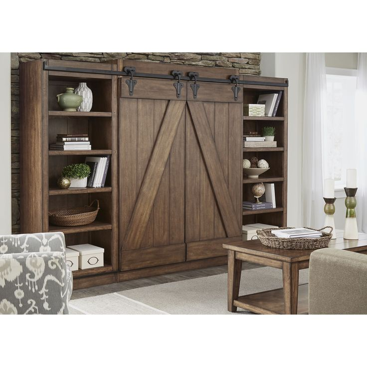 Liberty Lancaster II Antique Brown Modern Farmhouse Entertainment Center with Piers (Lancaster II Antique Brown Ent. Center w/ Piers)