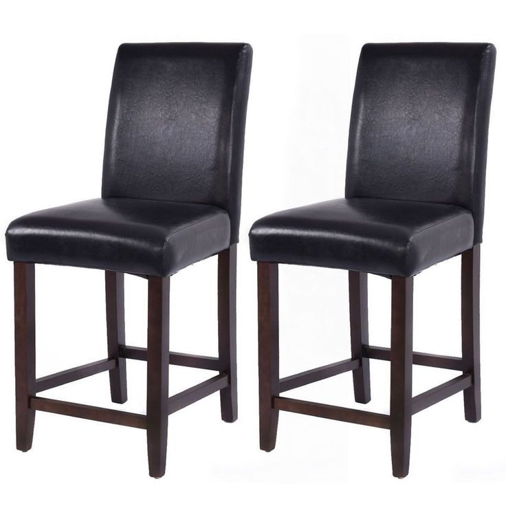 Bar Stool Wood Chair Dining Kitchen Counter Set of 2 Brown Barstool Seat Home  #BarStoolWoodChair