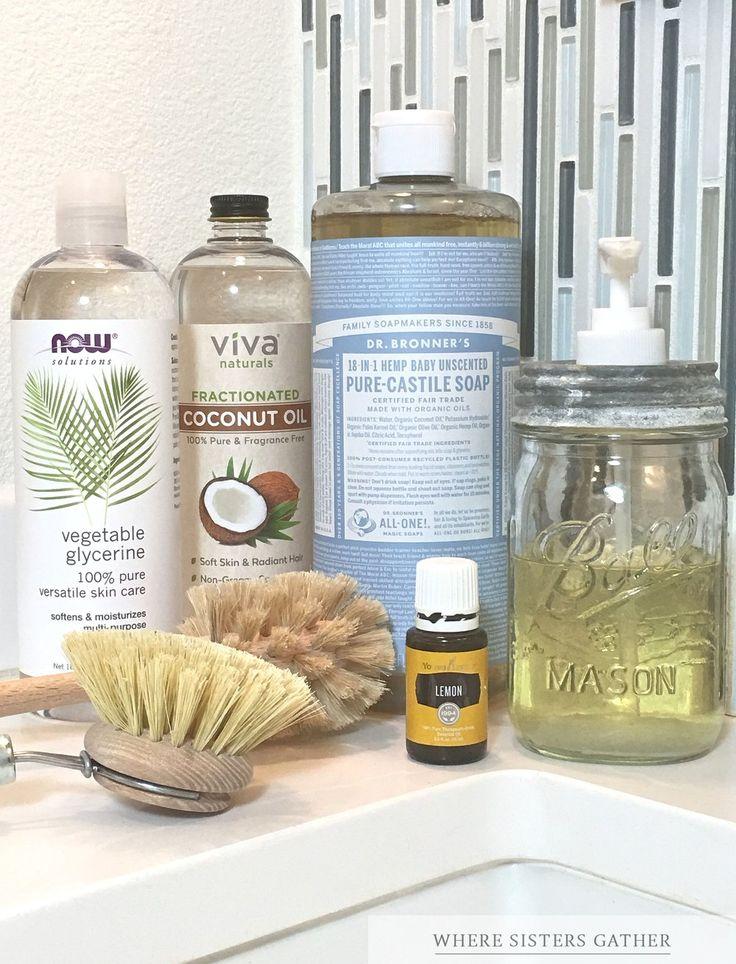 Natural liquid soap (liquid castille soap, essential oil, and fractured coconut/vegetable glycerin)