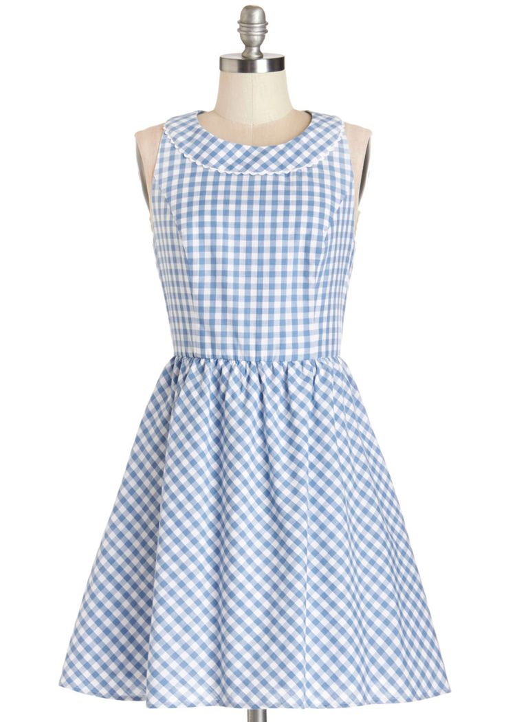 A Piece of the Sky Dress. You can have own slice of the celestial sphere, thanks to this lovely sky-blue and white gingham dress by Louche!  #modcloth