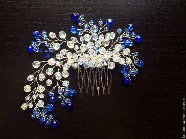"""Купить Гребень для украшения прически """"Синее сияние"""" - тёмно-синий, синий браслет, синий"""
