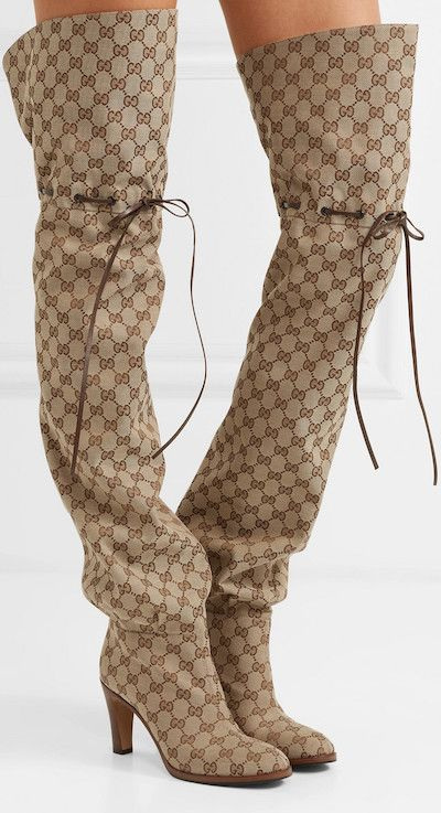 """71f080c32f7 Gucci """"Lisa"""" Leather-trimmed Logo-jacquard Thigh-high Boots in  beige-and-dark-brown """"GG"""" logo-jacquard fabric with brown-leather trim"""