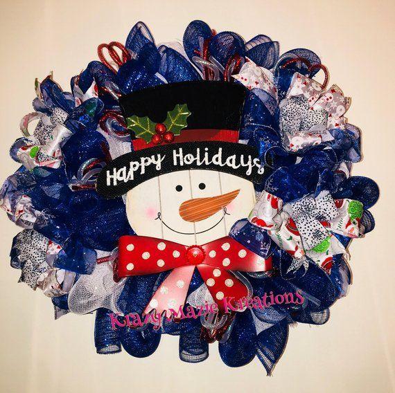 Snowman Happy Winter Deco Mesh Wreath