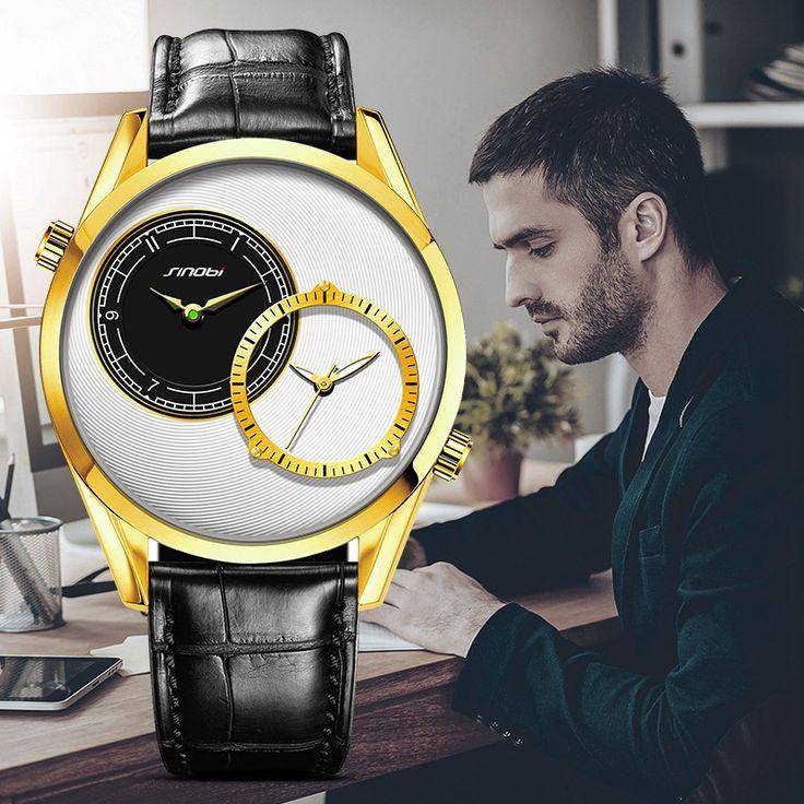 SINOBI Mens Gouden Polshorloge Luxe Merk Lederen Horlogeband Mannelijke 2 Tijdzone Quartz Horloge Mode Polshorloge Relogio Masculino in                     &nbs van quartz horloges op AliExpress.com   Alibaba Groep