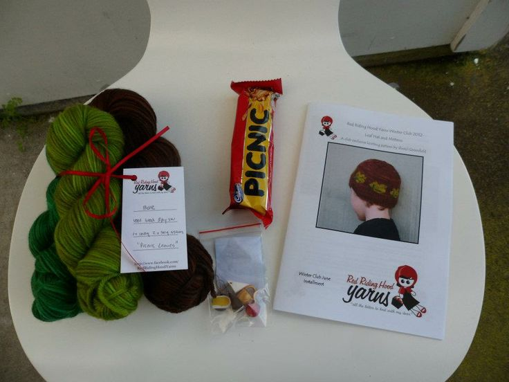 """Winter Yarn Club 2012 - June (Picnic) Boys package includes: """"Picnic Leaves"""" yarn, Picnic bar, picnic stitchmarkers by Tammy at Angel Inspired and """"Leaf Hat and Mittens"""" pattern by Sheryl Greenfield"""