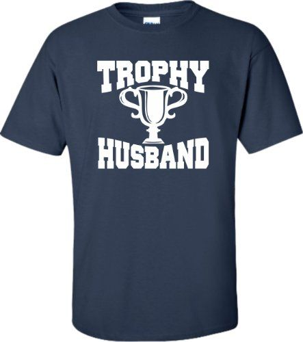 Navy Blue Adult Trophy Husband Novelty Funny Fathers Day T-Shirt - XL