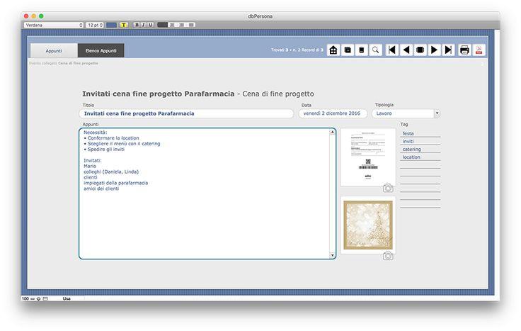 La scheda del Taccuino in cui inserire Liste e appunti vari.  dbPERSONA è l'agenda personale per computer desktop (Windows e MacOs) in cui inserire recapiti telefonici, indirizzi dei propri contatti, privati e professionali, pianificare un'attività, un'evento, prendere appunti suddividendo in tipologie e tag i propri taccuini e collegare gli appunti al relativo evento.  Prezzo Euro 179,00 https://www.alkestudio.it/blog/prodotto/dbpersona/