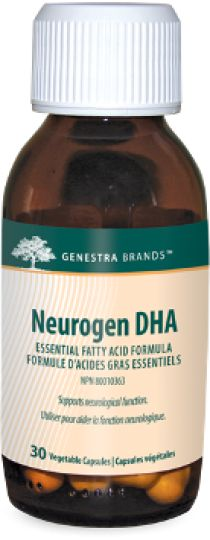Neurogen DHA by Genestra -  is a unique preparation of docosahexaenoic acid (DHA) derived from algae, specifically formulated to ensure maximum support of neurological function. The capsules are 100% pure vegetable sourced which make the product ideal for vegans.