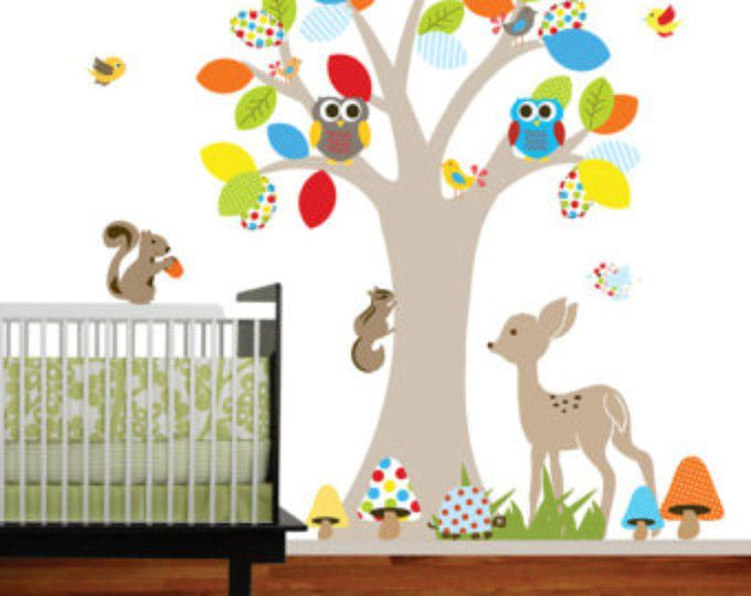 Adesivi in vinile Wall decal altalena albero with,owls,birds,deer,bear,fox.woodland set animali vivaio wall decal