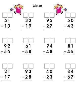 ... Worksheets: Two-Digit Subtraction With Regrouping (via Parents.com
