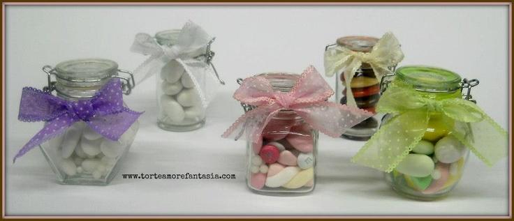 vasetti ermetici per la degustazioni di confetti & dolci www.torteamorefantasia.com