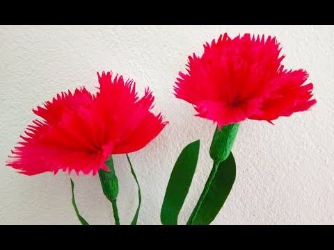 How To Make Crepe Paper Flowers Carnations Flower Origami Diy