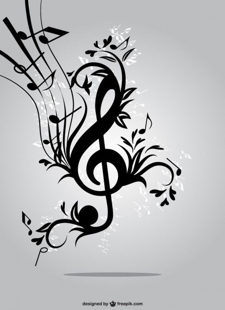 Floral music key vector