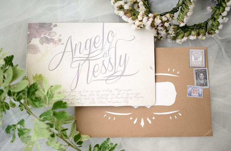Our romantic vintage theme wedding invite. We placed stamps in the envelope to get the old snail mail feel in them. We just love the classics!