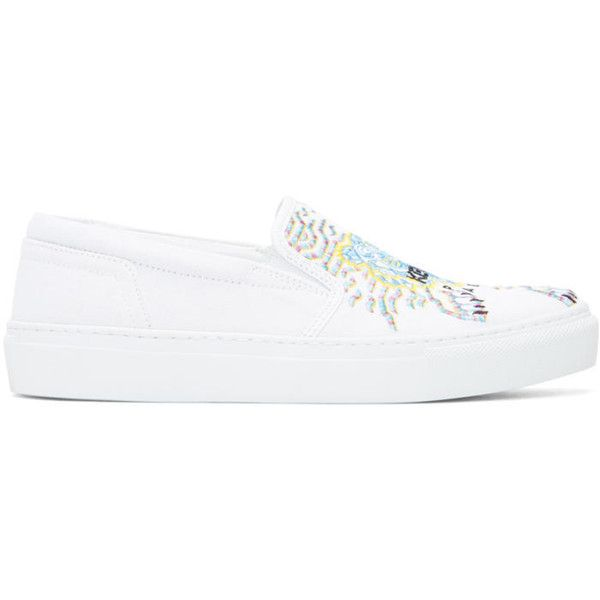 Kenzo White Limited Edition Geo Tiger K-Skate Slip-On Sneakers ($185) ❤ liked on Polyvore featuring shoes, sneakers, white, slip on sneakers, multi colored sneakers, slip on shoes, colorful sneakers and white leather sneakers