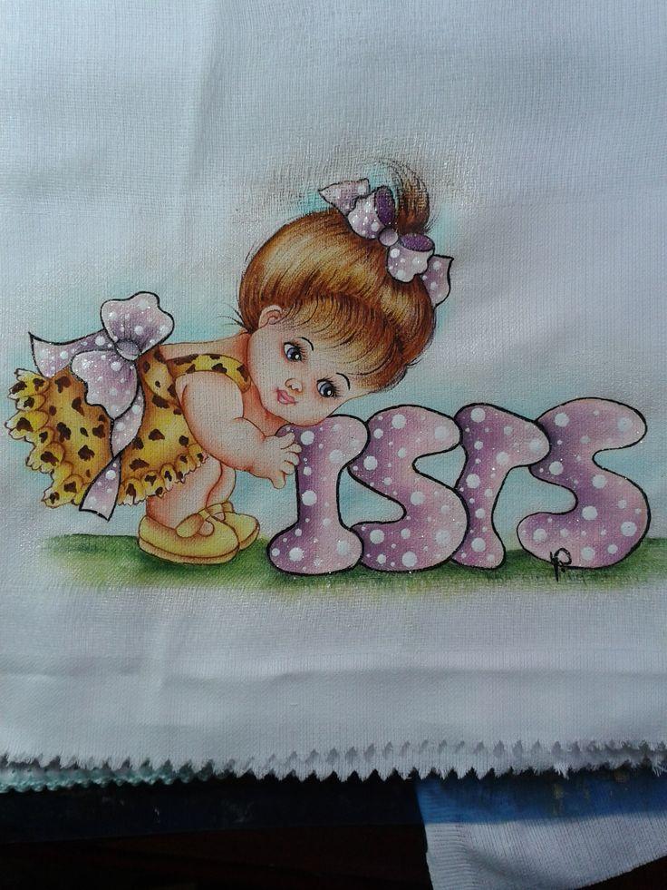 Pintura em tecido para fraldas   meninas   com nome
