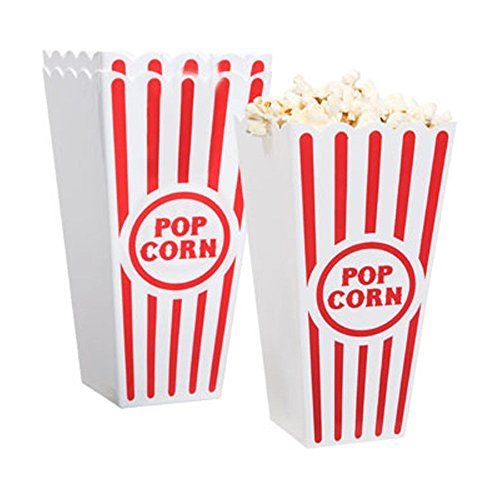 "Plastic Popcorn Containers - Set of 4 - 4 pc Set Great for movie night at home Great for Sleep overs and parties Each plastic bucket is 7¼"" tall 3.5"""