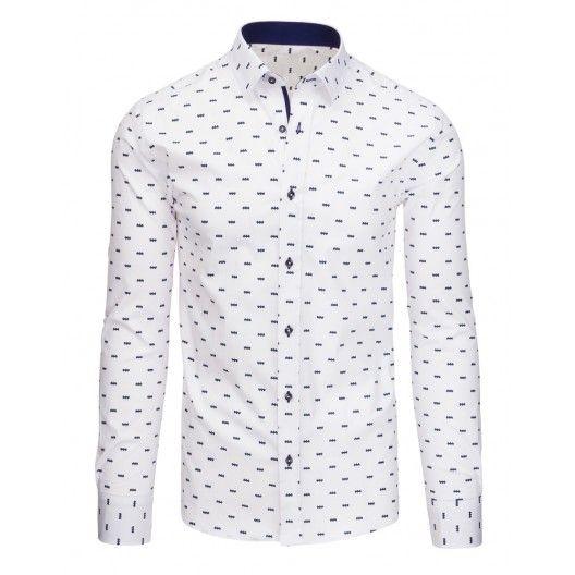 2cfab01364a6 Bílé pánské slim fit košile s modrým lemováním a knoflíky - manozo ...