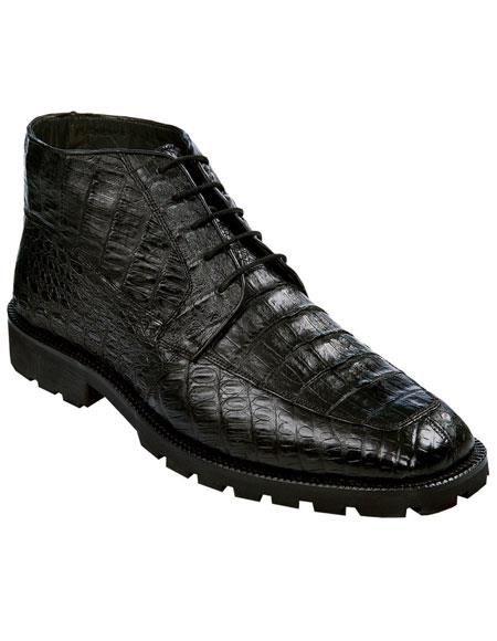 e6147515ea1 Los Altos Men's Genuine All Crocodile Caiman Black Ankle Leather ...