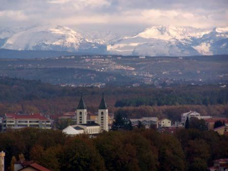 Another view of Medugorje with the beautiful mountains in the background