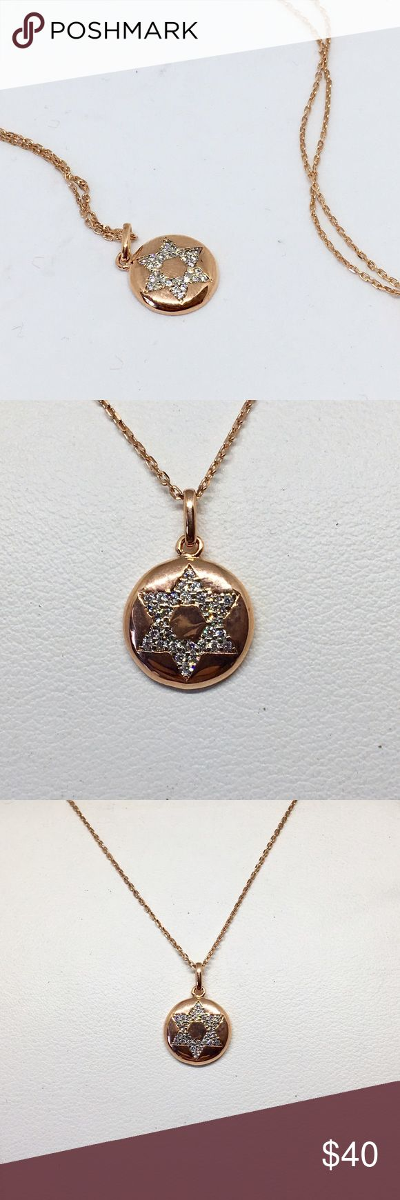 "Rose Vermeil 925 Sterling Star of David Necklace Rose gold vermeil over 925 sterling silver Star of David necklace with 18"" chain. Pendant is a circle with cubic zirconia Star of David. Necklace is a boutique item new with tags and never worn. Reasonable offers welcome! Jewelry Necklaces"