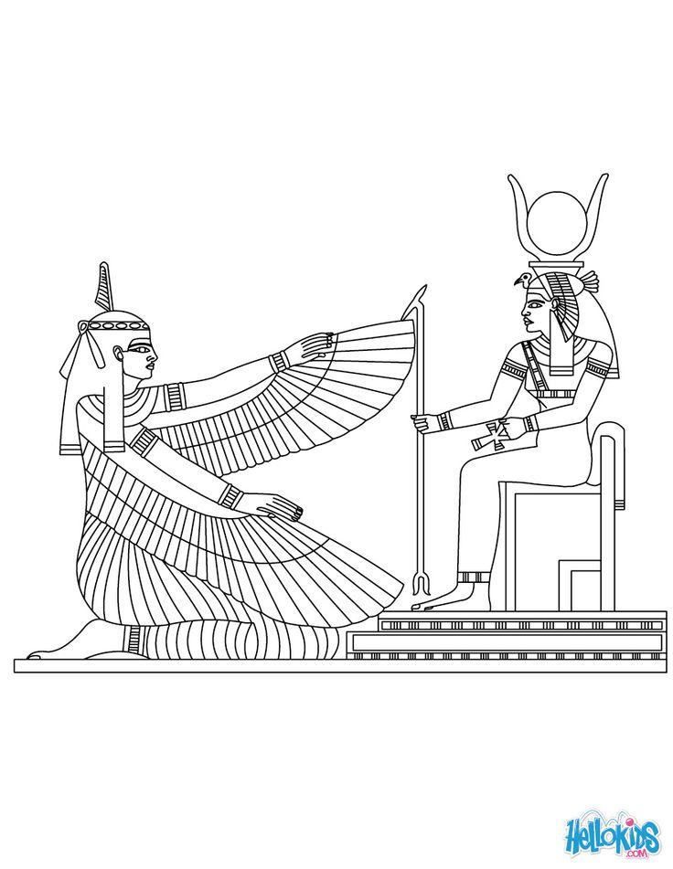 Maat  & Isis Egyptian goddess & gods Coloring Page