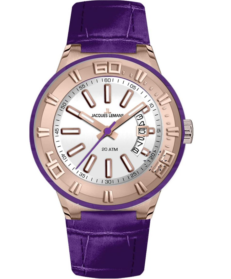 Jacques LEMANS Miami Sport Ladies Purple Leather Strap Μοντέλο: 1-1771J Η τιμή μας: 134€ http://www.oroloi.gr/product_info.php?products_id=33858