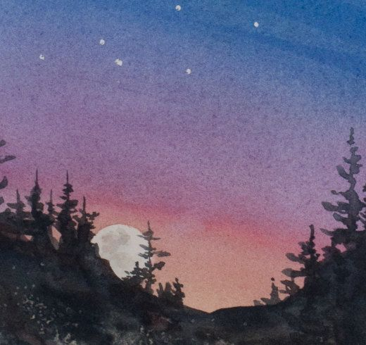 Constellations II Watercolor Print Night Sky by OlliffStudio