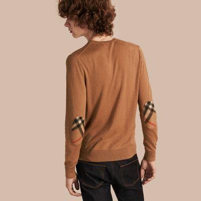Pull en cachemire et coton avec empiècements à motif check Chameau | Burberry