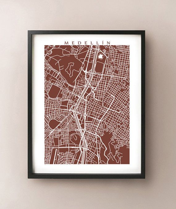 Medellin Map Print  Colombia Poster by CartoCreative on Etsy