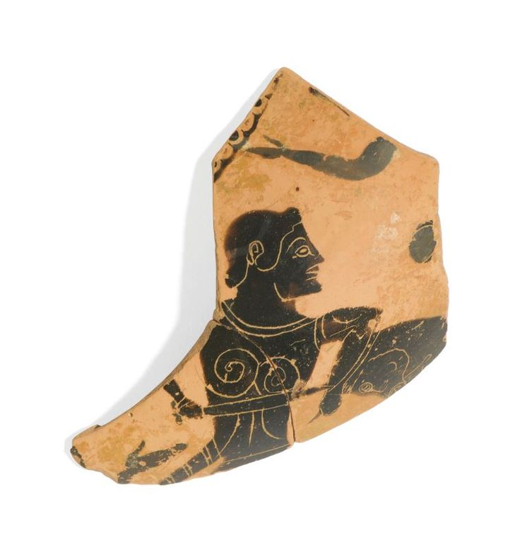 Greek black-figure vase, Attic amphora fragment, Attic vase, Greek vase, Greek black-figure vase fragment with Theseus and Minotaur, 6th century B.C. Attic amphora fragment, Greek vase, Attic vase, attic black-figure vase fragment with Theseus and Minotaur, 11 cm long. Private collection