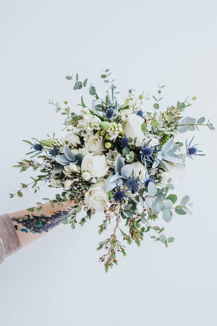Gorgeous blue and sage bouquet