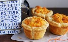 Cheese, corn and sweet potato quiches