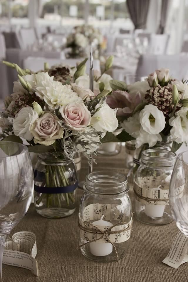 Gorgeous classic vintage table setting. Hire Hessian Table Runners and Vintage Vases from www.allureweddings.co.nz
