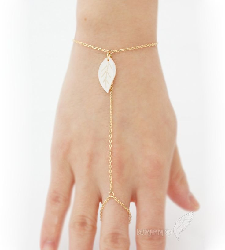 Simple Mother of Pearl LEAF on 16k Gold Plate Cable by Bumhemian, $17.50