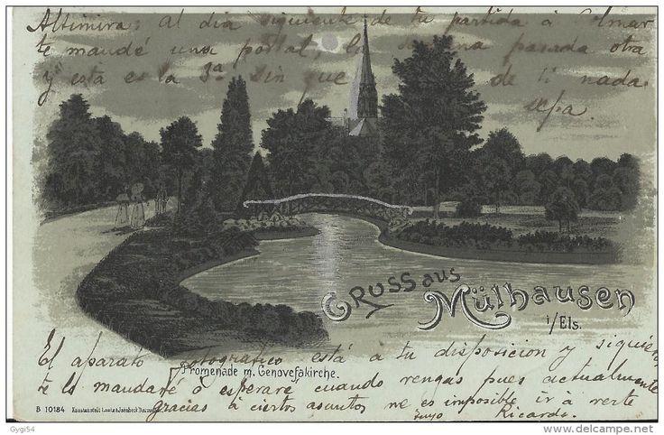 Gruss aus Mülhausen Promenade m .  Genovefakirche  CPA 1901