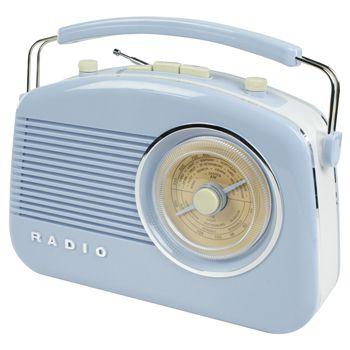 Radio AM/FM de diseño retro color azul - HAV-TR700BU  Radio de diseño retro en color azul. Tiene una rueda para sintonizar las emisoras con las frecuencias de grandes ciudades marcadas sobre ella. Puede elegir entre el modo AM o FM. Incorpora botones para el control de volumen y de tono. El botón de control de tono le permite ajustar la nitidez del sonido.
