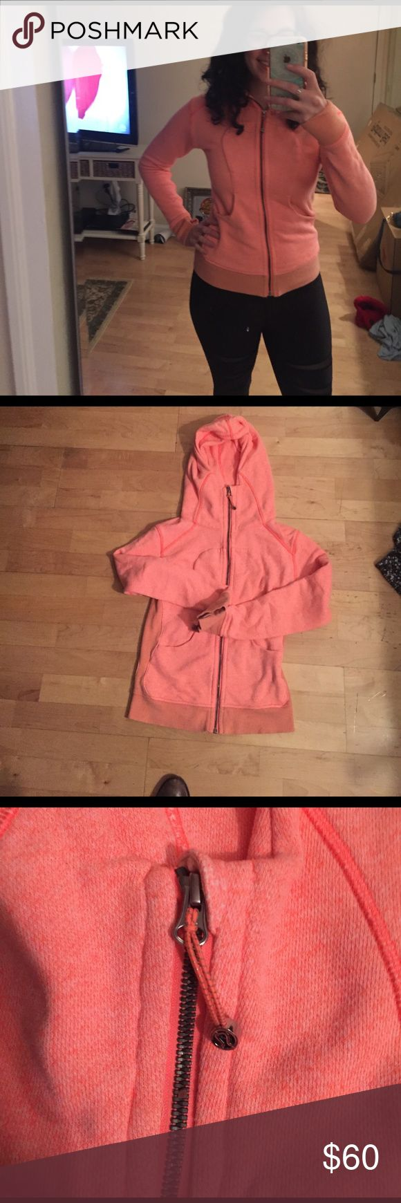 Lululemon scuba hoodie neon orange/pink color 🍋Lululemon scuba hoodie ( lighter fabric! Rare!) 🍋size 2 but fits up to 4-6( my size) great condition!( it came heathered so the darker color in the sleeves isn't dirty scouts honor! )it's not the typical thick scuba fabric -- it's a lighter stretchy terry cloth type. It's a rare summer edition.🌞 lululemon athletica Tops Sweatshirts & Hoodies