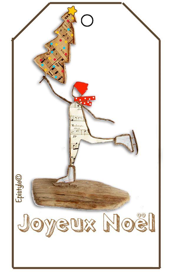 """Patineur de Noël en découpe de papier collée sous du kraft armé - (+ """"Scrap Hiver"""")"""